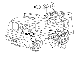 Lego Firetruck With Fireman Coloring Page For Kids Printable Free Duplo