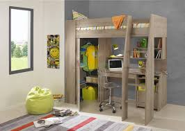 furniture grey wooden loft beds with desks underneath and