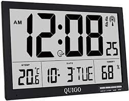 quigo wanduhr groß funk digital tischuhr modern schwarz küche wohnzimmer lautlos temperaturanzeige batteriebetrieben mehrere alarme