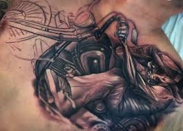 Guys Harley Davidson Motorcycle Tattoos On Chest