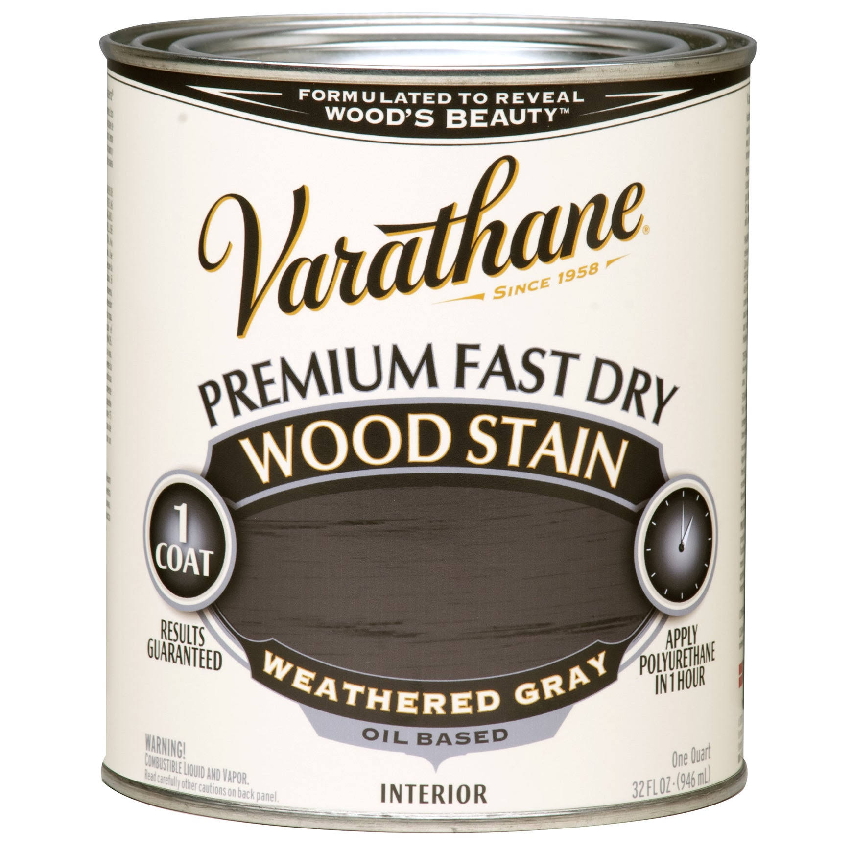 Rust-Oleum 269394 Varathane Premium Fast Dry Wood Stain - 32oz, Weathered Gray