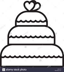 wedding cake vector line icon sign illustration on background editable strokes Stock