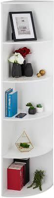 relaxdays eckregal 5 fächer stehend bücher dvd deko wohnzimmer küche flur standregal hxbxt 180x57x40 cm weiß 1 stück