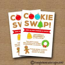 Cookie Swap Invitation Cute Christmas Cookie Party Holiday Etsy