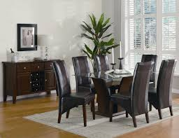 Glass Top Brown Table With Black Chairs For White Dining Room Inexpensive And