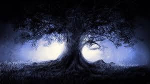 Fantasy Blue Landscapes Nature Trees Dark Night Artwork 1080x1920 Wallpaper