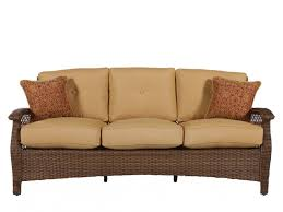button tufted casual wicker sofa in brown mathis brothers furniture
