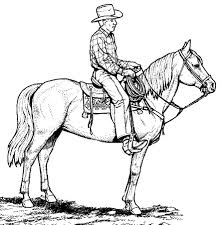 Coloring Picture Detail Name Cowboy Western Horse Pages Realistic