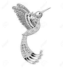Main Zentangle Dessinée Artistiquement Hummingbird Voler Oiseau