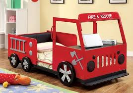 Youth Boys Kids Rescuer Fire Truck Twin Bed Storage Behind