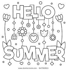 Summer Coloring Page Hello Vector Illustration Flowers Pages Printable