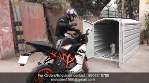 Ktm Rc 390 parking into portable garage