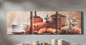 triptychon cucina mit wanduhr wanddeko uhr 3 teilig canvas
