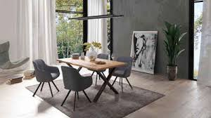 homexperts essgruppe lesley carlo set 5 tlg oder 7tlg baumkantentisch breite 160 oder 200cm und 4 oder 6 polsterstühlen mit drehfunktion
