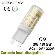 g9 led l t3 t4 jcd light bulb bi pin base 110v 220v 3w 4w 5w