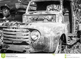 Vintage Truck - B/W Horizontal Stock Image - Image Of Closeup, Grill ...
