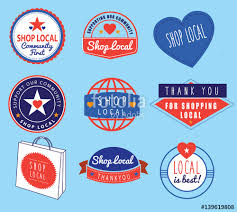 Series Of Vintage Retro Logos Based On Shop Local Theme