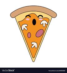 Pizza Italian Food Cute Kawaii Cartoon Vector Image