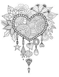 Dreamcatcher To Print And Color Heart