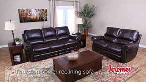 Jeromes Bedroom Sets by Jerome U0027s Furniture Thurston Leather Reclining Sofa Youtube