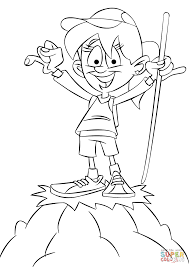 Click The Girl Hiker On A Top Of Mountain Coloring Pages