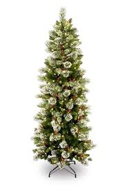 Pre Lit Pencil Christmas Tree Walmart by Amazon Com National Tree 7 5 Foot Wintry Pine Slim Tree With 400