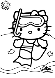 Click To See Printable Version Of Hello Kitty Goes Swimming Coloring Page