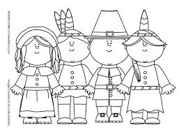 Thanksgiving Pilgrims And Indians Coloring Page