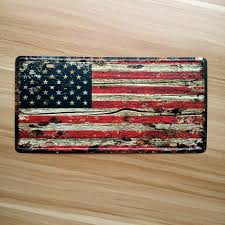 Wall Art Designs Vintage American Flag Usa Retro License Plate Metal Tin