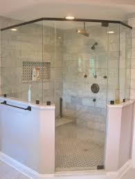master bath corner shower marble subway tile rubbed bronze