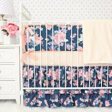 Coral And Navy Baby Bedding by Coral And Navy Baby Bedding Stripe And Floral By Lottiedababy