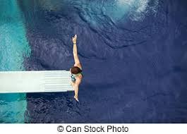 Girl Standing On Diving Board