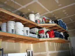 interior diy wood overhead garage storage shelf two tiers