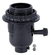 medium base e26 3 way turn knob black phenolic l socket w