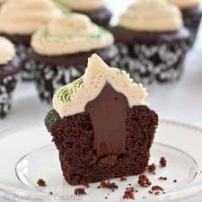 Cross section of Chocolate Stout Cupcakes with Whiskey Ganache