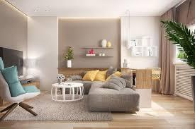 wohnzimmer in taupe und grau mit gelben akzenten mit
