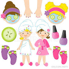 Girls Spa Party Cute Digital Clipart Commercial Use OK Graphics Clip Art Manicure Facial Fingernail Polish