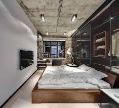 loft stil schlafzimmer backsteinmauer konkrete