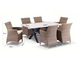 Sicillian 6 Stone Top Table & Wicker Chairs Setting In Half Round Wicker