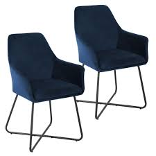 svita josie dining 2er set esszimmerstuhl sessel polsterstuhl samt dunkelblau