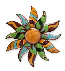 Metal Flower Wall Art 12 Main Image For Talavera Painted