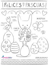 English To Felices Pascuas Happy Easter Coloring Sheet In Spanish Printable By