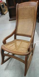Antique 1890 Lincoln Victorian Wood Cane Back Rocker, All Re