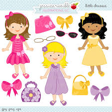 Little Dresses Cute Digital Clipart Girls In Easter