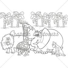 Group Of African Animals For Coloring Book