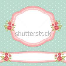 Shabby Chic Wallpaper Border Frame With Roses In Style Stock