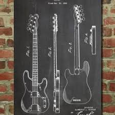 Guitar Blueprint Art New Fender Bass Patent Wall Poster By Patentprints On Etsy