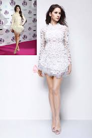 unique long sleeve white lace and tulle selena gomez cocktail