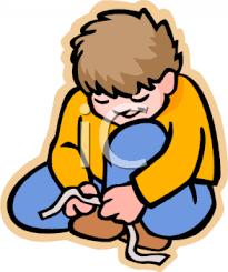 Boy Putting Shoes Clipart