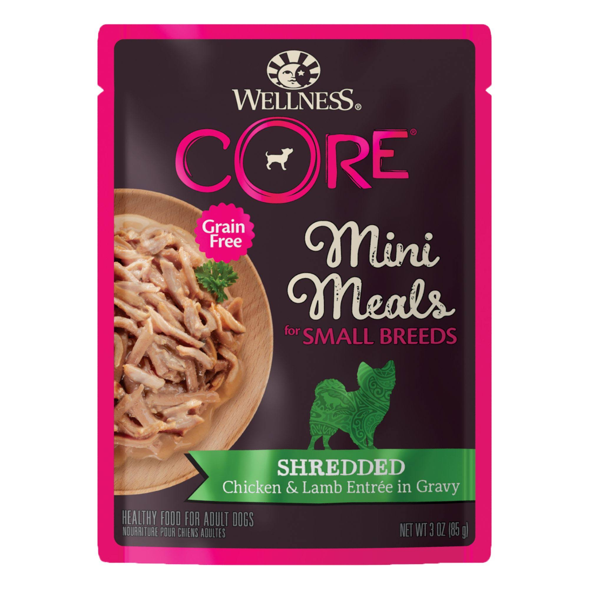 Wellness Core Grain Free Mini Meals Shredded Chicken & Lamb Entree in Gravy Small Breed Dog Food 3 oz